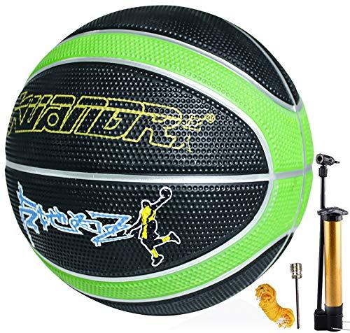 cwin Basketball Größe 7 mit Pumpe Indoor Outdoor Junior Kinder Kinder Jugend Basketball Spiel Street Gummi Basketball mit 3 Zubehör