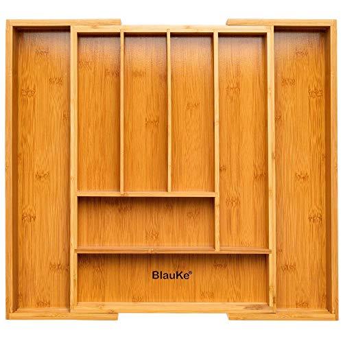 Bandeja de Cajón para Cubiertos - Organizador del Cajón Extensible de Madera - Cuberteros para Cajon Extensible - Cubertero de Bambú para Cajon de la Cocina - Bandeja para Cubiertos de Madera de Bambú