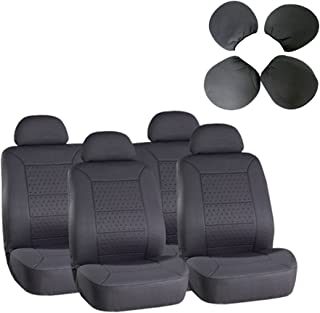 cciyu Seat Cover Universal Car Seat Cushion w/Headrest - 100% Breathable Washable Automotive Seat Covers Replacement Replacement fit for Most Cars(Gray)