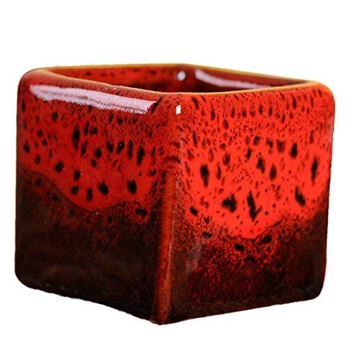 Outflower Petit pot de fleurs carré en céramique Style chinois 5,4 x 5,1 cm 5.4*5.1cm rouge