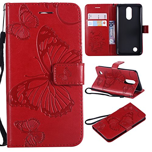 LG Aristo Case, LG Rebel 3 LTE Case, LG Phoenix 3 Case, LG Fortune Case, LG Rebel 2 LTE Case, LG Risio 2 Case, LG K8 2017 Case,Wallet Leather Folio Card Holder Phone Case Cover,Butterfly Red