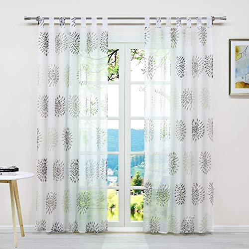 ESLIR Gardinen mit Schlaufen Vorhänge Fensterschal Transparent Schlaufenschal mit Kreis Muster Voile Braun BxH 140x225cm1 Stück
