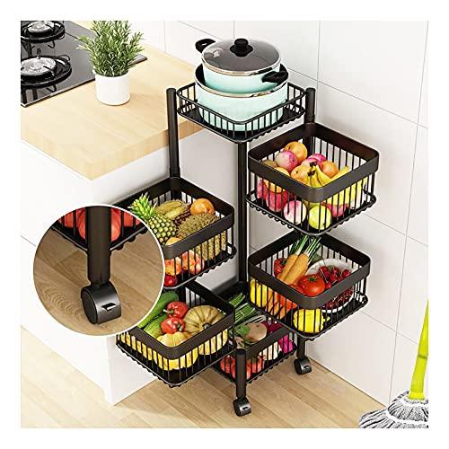 LKH Rack De Almacenamiento De 5 Niveles, Organizador De Acero Al Carbono Bastidor De Vegetales Giratorios para Cocina/Garaje/Cuarto De Baño/Lavandería - Sin Necesidad De Ens(Size:5-Tier,Color:Negro)