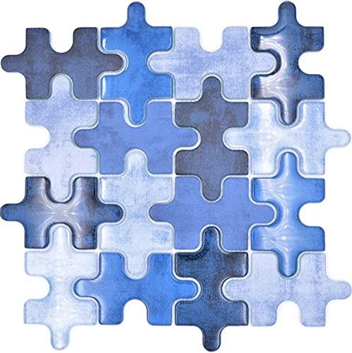 Mosaico de mosaico de cristal, diseño de rompecabezas, color azul