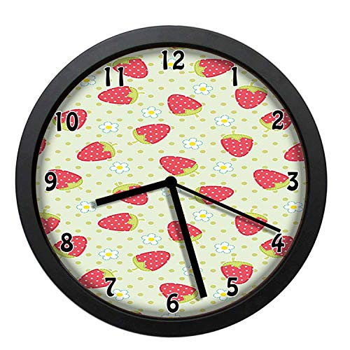 EaYanery Spring Daisy Blooms Fresh Strawberry Polka Dots Cheerful Life Baby Cartoon Art Pale Green Red Wall Clock Home Decor 10in Non-Ticking Silent Decorative Clocks