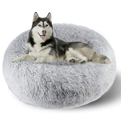 ETACCU Cama Redonda de Felpa para Gatos, casa para Perros, Cama para Mascotas, Cama para Mascotas pequeña con Forma de rosquilla Suave y cómoda 50 /60 / 70CM (70cm, Gris Claro)
