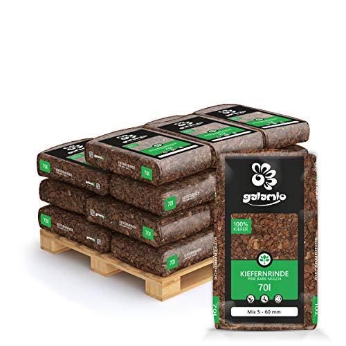 PALIGO Rindenmulch Mulch Garten Holz Dekor Rinde Borke Natur Pinus Sylvestris Wald Kiefer Mix 5-60mm 70l x 18 Sack 1.260l / 1 Palette Galamio