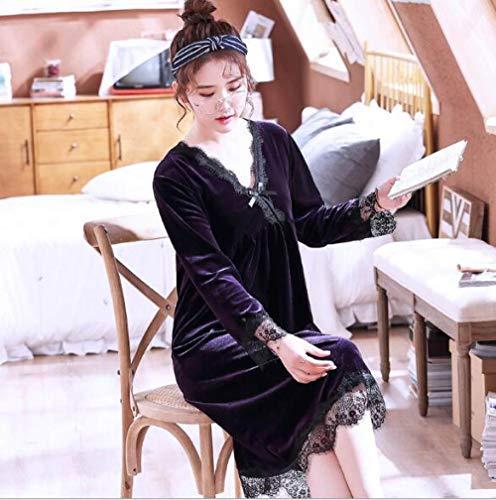 HUANSUN Elegante Vestido de Noche de Encaje para Mujer, de Manga Larga, cálido, para el hogar, camisón, Ropa de Dormir para Mujer, camisón de Invierno, púrpura, M