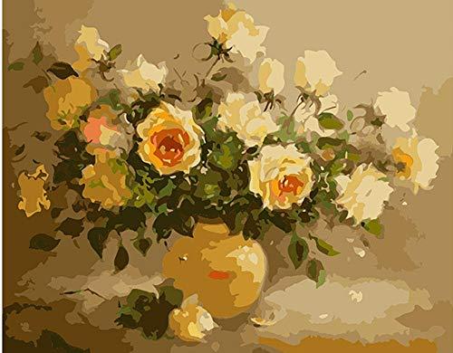 XKLHXFY Pintar por Numeros Adultos NiñosBodegón con flores en floreroDibujos para Pintar con Pinturas y Pinceles 40 x 50 cm Principiantes Fácil sobre Lienzo con Números Sin Marco