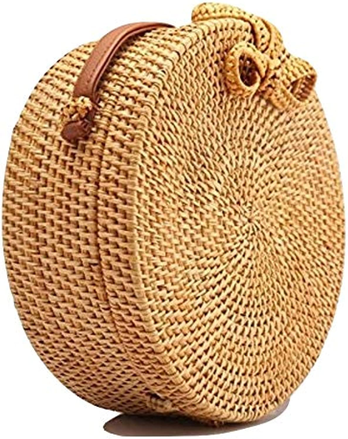 Herblandia Bali Island Natural Hand Woven Bag Round Butterfly Buckle Rattan Straw Beach Circle Bag Bundled with Neck Scarf