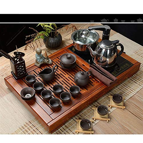 JIAGU Mesa de té Sirviendo GONGFU Chino sirviendo bandejas Tablero de té para la Oficina en casa de la casa de té Caja de Bandeja (Color : Brown, Size : One Size)