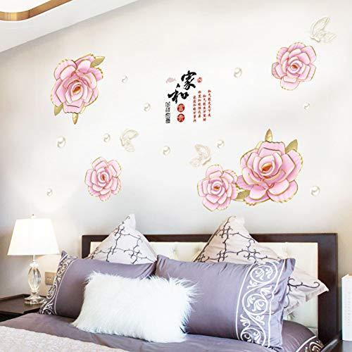 TAOYUE Pflanzenblume reiche Blume Wandaufkleber Sofa Schlafzimmer Schrank Wohnzimmer Hintergrund Wanddekoration PVC Wandaufkleber Wandbild