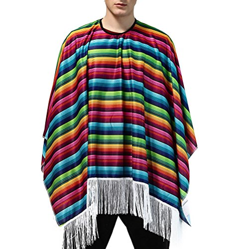 SOIMISSDisfraz Mexicano de Halloween para Hombre Disfraz de México Disfraz de Fiesta Elegante Manto Colorido (Patrón 1)
