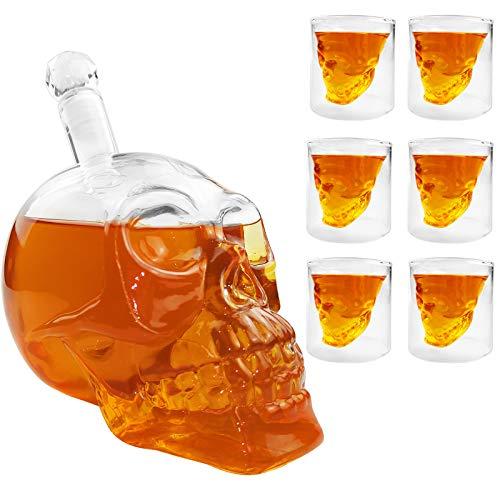 JIXUN Totenkopf Schnapsgläser Set, Whiskyglas1000 ml und 6 Schädel Weingläser 75ml Kristall Schnapsgläser