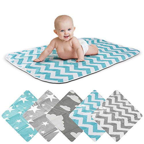 Wickelunterlage Baby Wickelauflage Baby Wickel-Decke Unterlage für Säuglinge und Kleinkinder; atmungsaktiv, waschbar, wiederverwendbar; 50 x 70 cm (ZickZack-Blau)