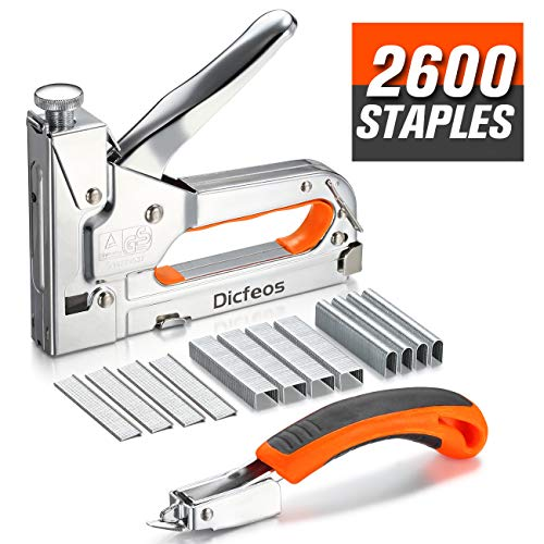 Dicfeos Staple Gun with Remover, Heavy Duty 3 in 1 Manual Nail Gun...