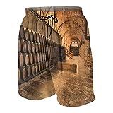 MAYBELOST Shorts de Plage pour Hommes,Photo de tonneaux de Cave à vin, Maillots de Bain Maillots de Bain à séchage Rapide avec Doublure en Maille et Poches