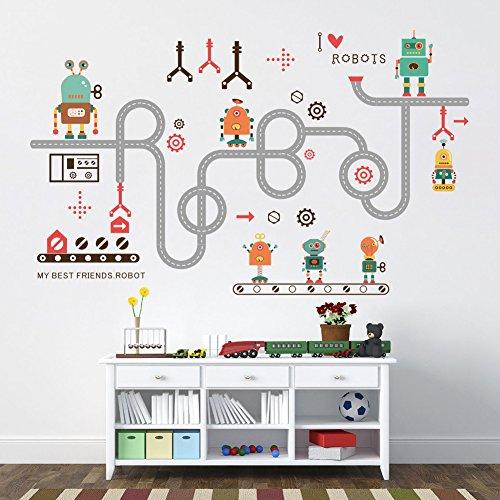 Wallpark Dibujos Animados Lindo Novedad Robot Desmontable Pegatinas De Pared Etiqueta De La Pared, Bebé Niños Hogar Infantiles Dormitorio Vivero DIY Decorativas Adhesivo Arte Murales