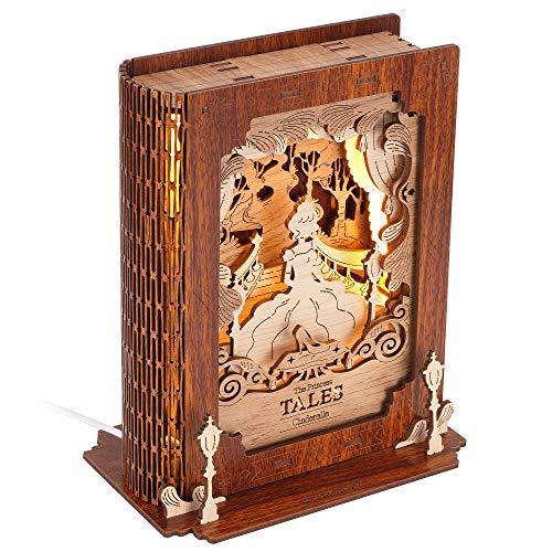 FUNPOLA Puzzle de madera 3D, luz de noche, puzle 3D, lámpara de mesita de noche, DIY, modelo de lámpara (Cenicienta)