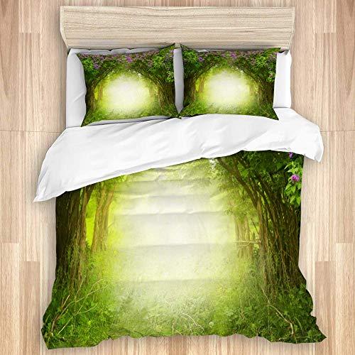 Juego de funda nórdica de 3 piezas, Fantasy Magic Forest, hermoso paisaje primaveral, árbol lila en flor, juegos de fundas de edredón de microfibra para dormitorio, colcha con cremallera con 2 fundas