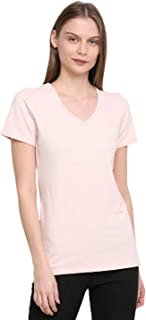 RUTE Cotton Jersey Half Sleeves Solid T-Shirts for Women