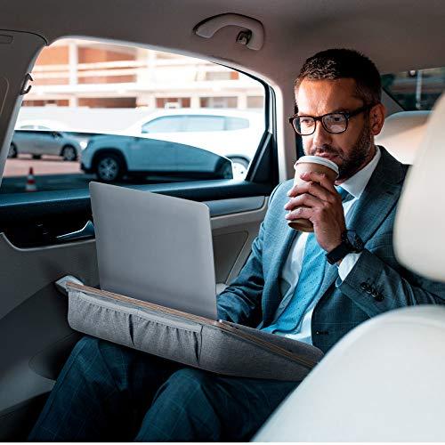"""Furminics Schwarze Laptop-Ablage mit Kissen, Tablet-Halterung & Aufbewahrungstasche, für Betten, Sofas & Schreibtische, für bis zu 15.6""""-Laptops"""