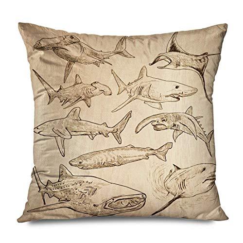 Mengghy Funda de almohada de 45 x 45 cm, diseño de animales, tiburones, acordeata, descripción de la vida silvestre vintage, peces grandes martillos blancos decorativos, funda de cojín con cremallera