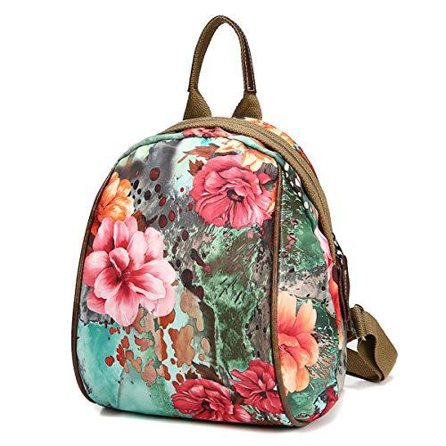 Mode Schultertasche Rucksack, JOSEKO Frau Nylon BlumenmusterMultifunktional Nationaler Stil Handtasche Schultertaschen Rucksäcke Grün-Blume