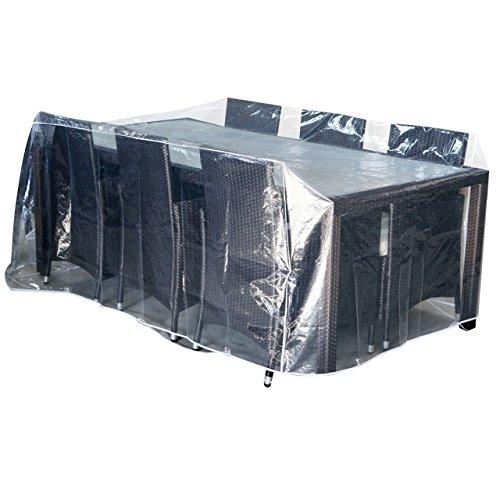 Jet-line Abdeckplane Abdeckhaube Abdeckung Schutzfolie Gartenmöbel Neu - 2,3 x 1,3 x 0,8 m - klar Transparent Plane Abdeckung Garten Möbel passend für Tische bis Zwei Meter Länge