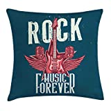 Rock and Roll Throw Pillow Cushion Cover, Poster Design of