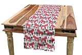 Ambesonne Ethnic Table Runner, Folk Inspired Swedish Dala Horse with Floral Ornaments Folklore Art, Dining Room Kitchen Rectangular Runner, 16' X 90', Coral Indigo