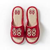 MLLM Zapatillas de casa de Verano Sandalias,Zapatillas de Fiesta de Boda, Zapatillas de Pareja de Lino-C_38-39,D1