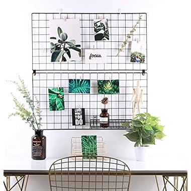 Kufox Multifunction Metal Mesh Grid Panel,Wall Decor/Photo Wall/Wall Art Display & Organizer,Pack of 2 Pcs,Size:31.52  x 15.76 ,Black