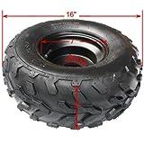 16x8-7 7' Black Left Wheel Rim Tire Assembly for 110cc 125 cc ATV Go Kart 80mm...