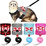 4 Pieces Small Pet Harness Vest and Leash Set with Cute Bowknot and Safe Bell Decor Chest Strap Harness for Outdoor Walking Rabbit Ferret Guinea Pig Bunny Hamster Puppy Kitten (Small)