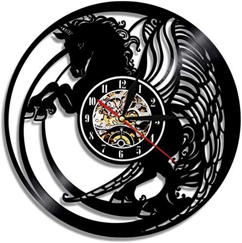 KDBWYC Decoración de Dormitorio Reloj de Pared con Disco de Vinilo para su Hada mágica Reloj de Pared Reloj Exclusivo Regalo Elfos Mural Retro