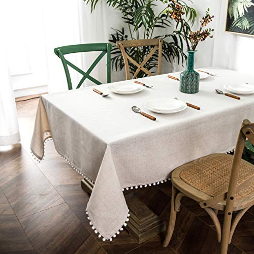 DriftAway Pom Pom Tassel Rectangle Linen Blend Decorative Table Cloth for Indoor Outdoor Dining Buffet Table Parities Dinner Wedding 55 Inch by 84 Inch Beige