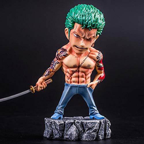 Action Figure One Piece Ruffy Roronoa Zoro Dominierende Tattoos Animierte Charaktermodelle Statuen Dekorationen 15CM B
