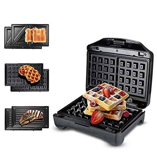 Sandwichmaker 3 in 1, Cotomier Waffeleisen belgische waffle, Kontaktgrill & Sandwichtoaster mit spülmaschinengeeignete & antihaftbeschichtete Platten, Extra tiefe Form, 2 Kontrollleuchten 750W