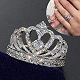 Zhiwen Crown 925 Silver White Sapphire Queen Ring Engagement Proposed Women Jewelry Size 6-10 (US Code 7)