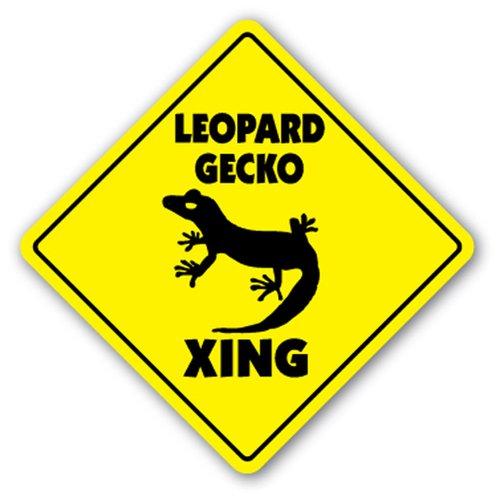 SignJoker Leopard Gecko Crossing Sign Xing Geschenk Neuheit Reptile Eidechse Käfig Nahrung Wandschild Dekoration