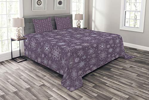 ABAKUHAUS Schneeflocke Tagesdecke Set, Weihnachtsblumen, Set mit Kissenbezügen Sommerdecke, für Doppelbetten 264 x 220 cm, Lavendel Violett