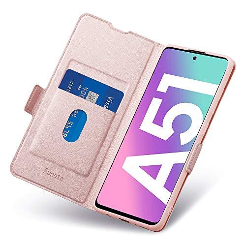 Fundas Samsung Galaxy A51, Funda Samsung A51 Libro, Carcasa A51 4G Cierre Magnético, Tarjetero y Suporte, Capa Plegable Cartera, Flip Phone Cover Case, Tipo Étui Piel, PU TPU Protección. Oro Rosa