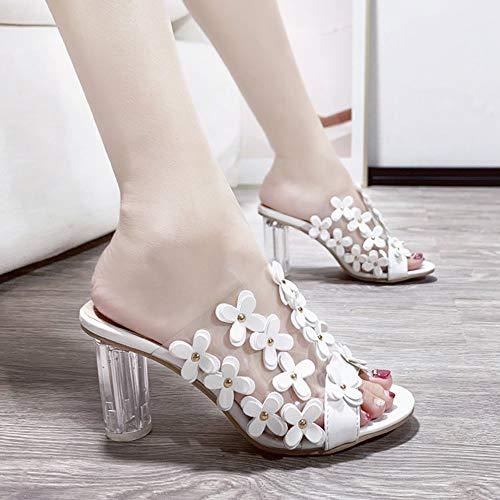 Yhjmdp Hausschuhe Mode transparent mit kristall transparente High Heel blümchen Frau Schuh Sommer hohe Ferse Pantoffeln,Weiß,40