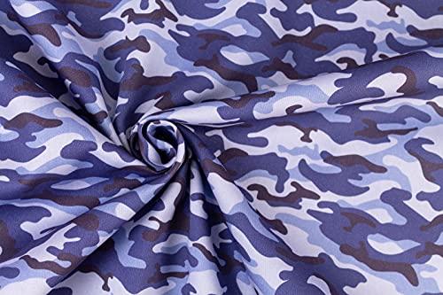 Tela al metro de camuflaje militar – Altura 280 cm – por metro – Estándar Oeko-Tex 100 – para manualidades, ropa de niños y otros (camuflaje azul)