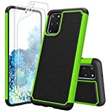 Zectoo Shockproof Galaxy S20 Plus Case, Galaxy S20+ Cute Case,[with Screen Protector] Dual Layer Armor Shockproof Defender Scratch Resistant Bumper Grip Rugged Case Cover for Samsung S20+ [Green]