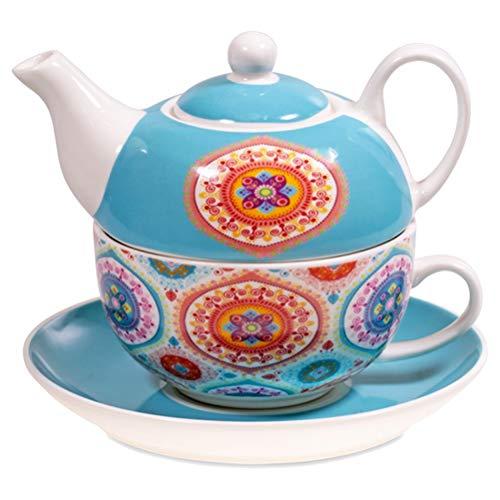 Théière Bleue solo en porcelaine Mandala