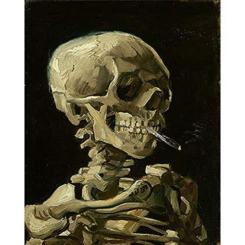 Serthny Schilderen op nummer, doe-het-zelf roken schedel geschilderd schrikbaar object 40 x 50 cm vulling schilderij voor beginners, schilderen op nummerset met penseel kleuren en canvas Home Decoratief