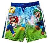 Mario Super Brothers Little Boys Swim Trunks (Royal Blue, 6)