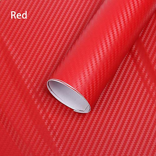3D Carbon Folie, Minleer (2 Stück) 3D Autofolie Carbon Vinyl selbstklebend flexibel Car Wrapping Folie Hochglanz Blasenfrei mit Luftkanälen (152 x 30 cm) Rot